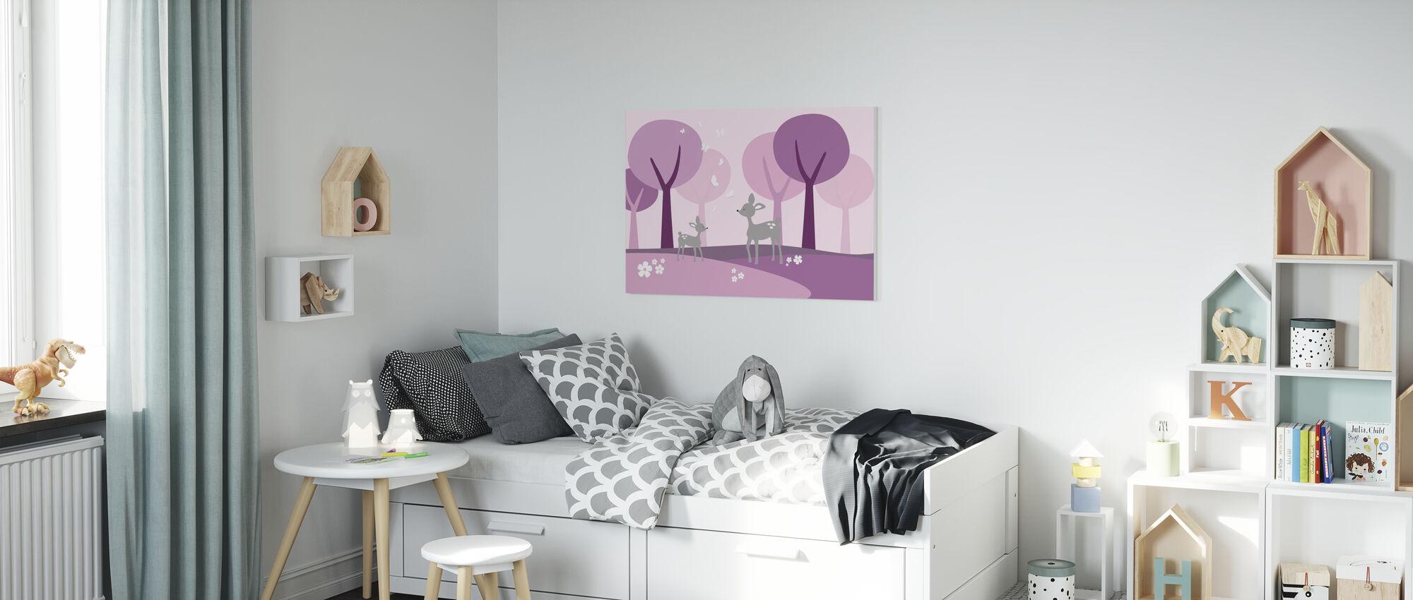 Herten in het bos - Paarse - Canvas print - Kinderkamer