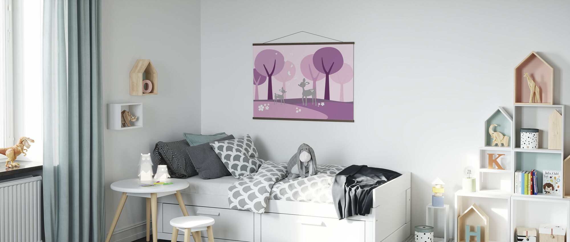 Hirsch im Wald - Lila - Poster - Kinderzimmer