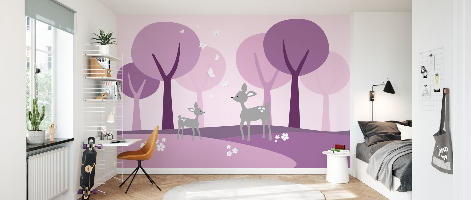 Deer in Woods - Purple - Wallpaper - Kids Room