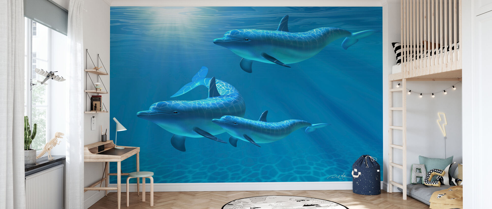 Dolphin Family of Three - Wallpaper - Kids Room