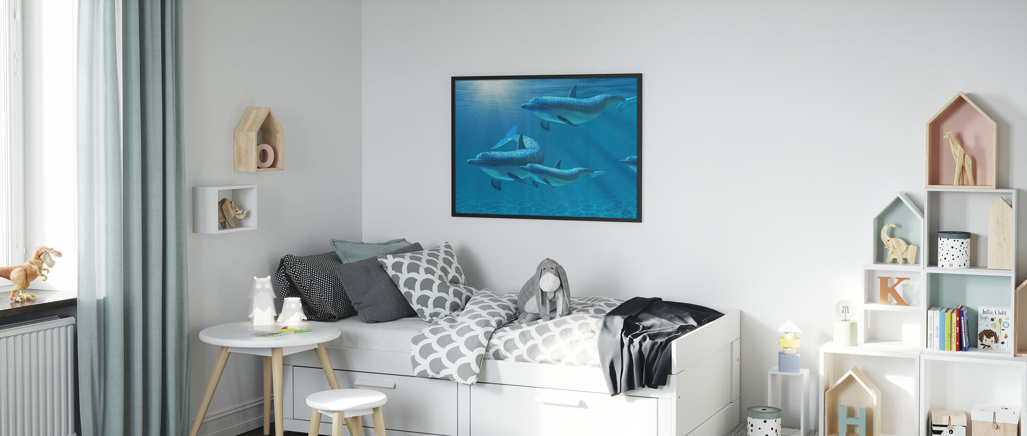 Dolphin Family of Five - Framed print - Kids Room