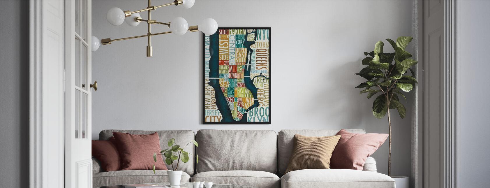Manhattan Kaart - Poster - Woonkamer