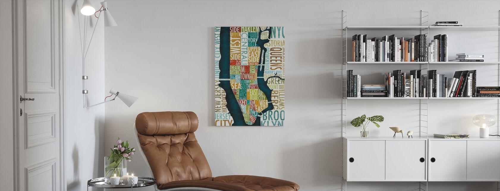 Manhattan Karta - Canvastavla - Vardagsrum