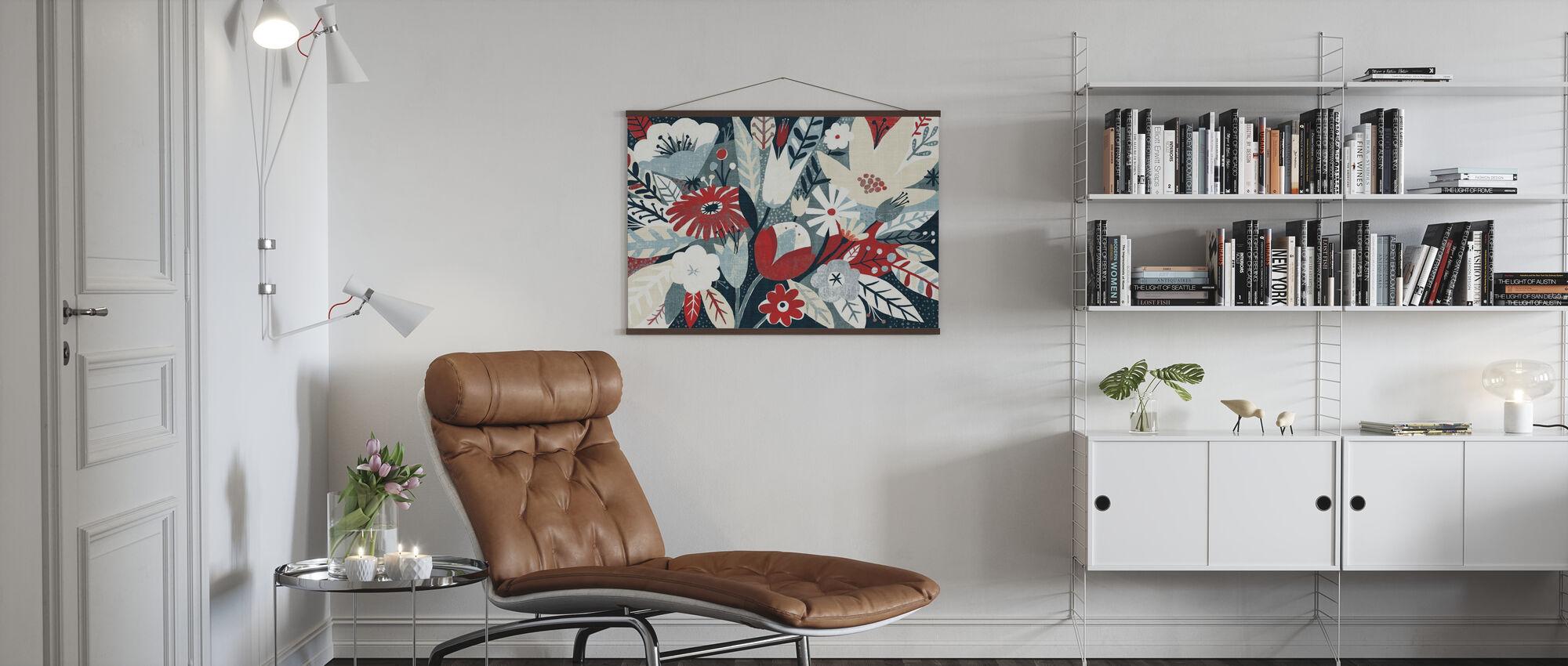 Vintage Bouquet Red - Poster - Living Room