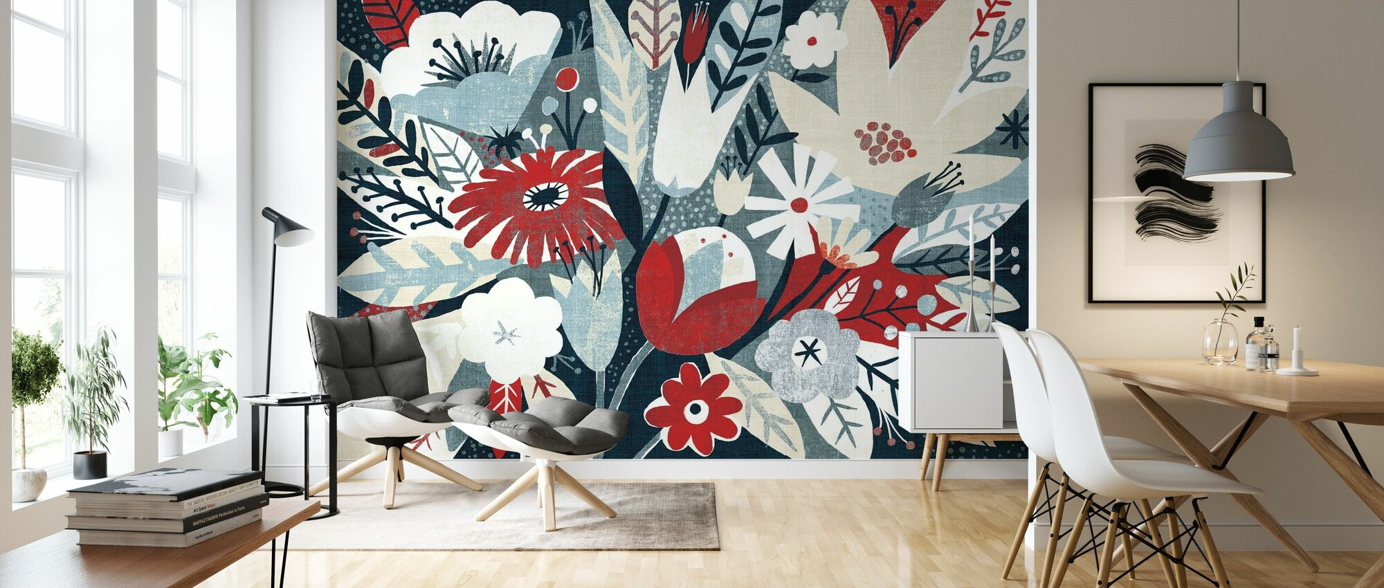 Vintage Bouquet Red - Wallpaper - Living Room