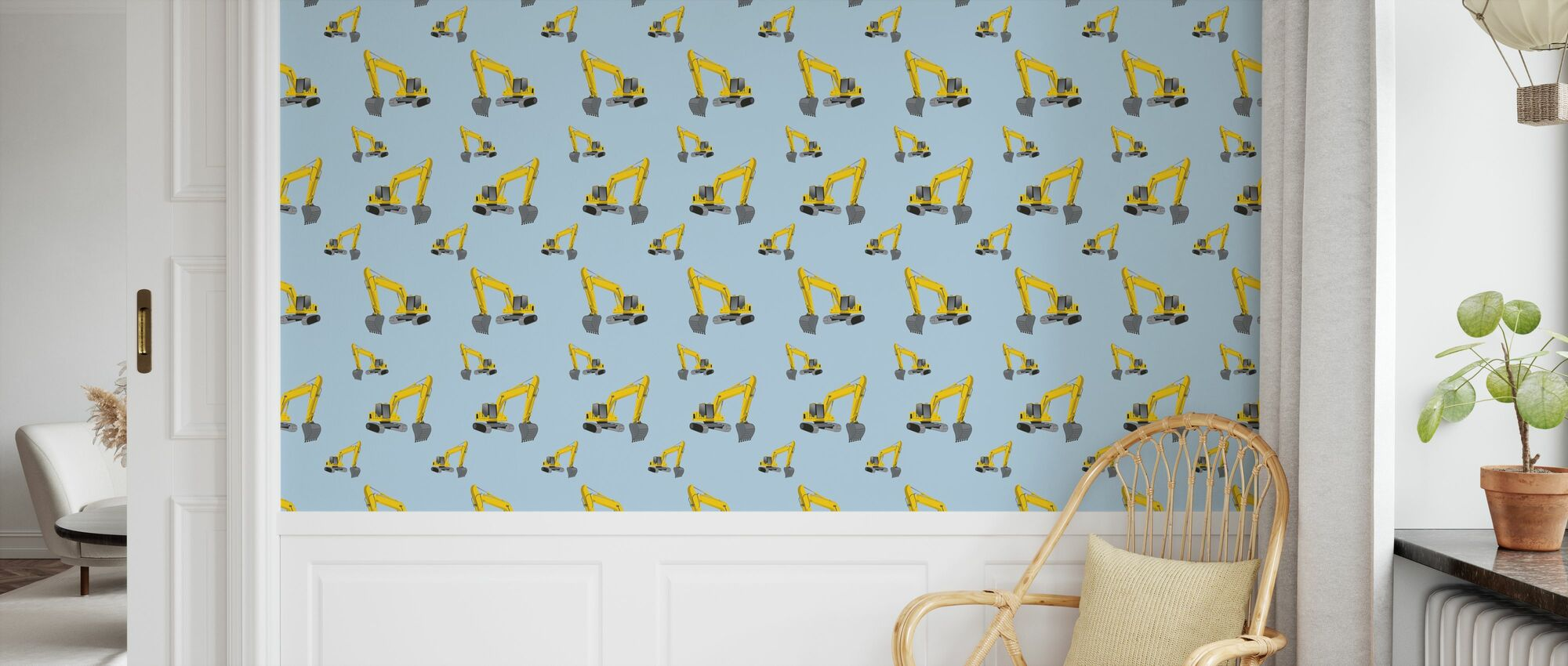 Excavators Blue - Wallpaper - Kids Room