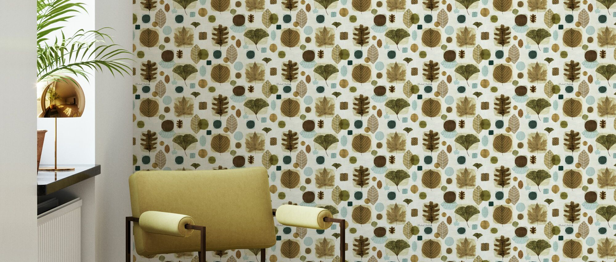 Woodland Sweet Leaves Pattern - Wallpaper - Living Room
