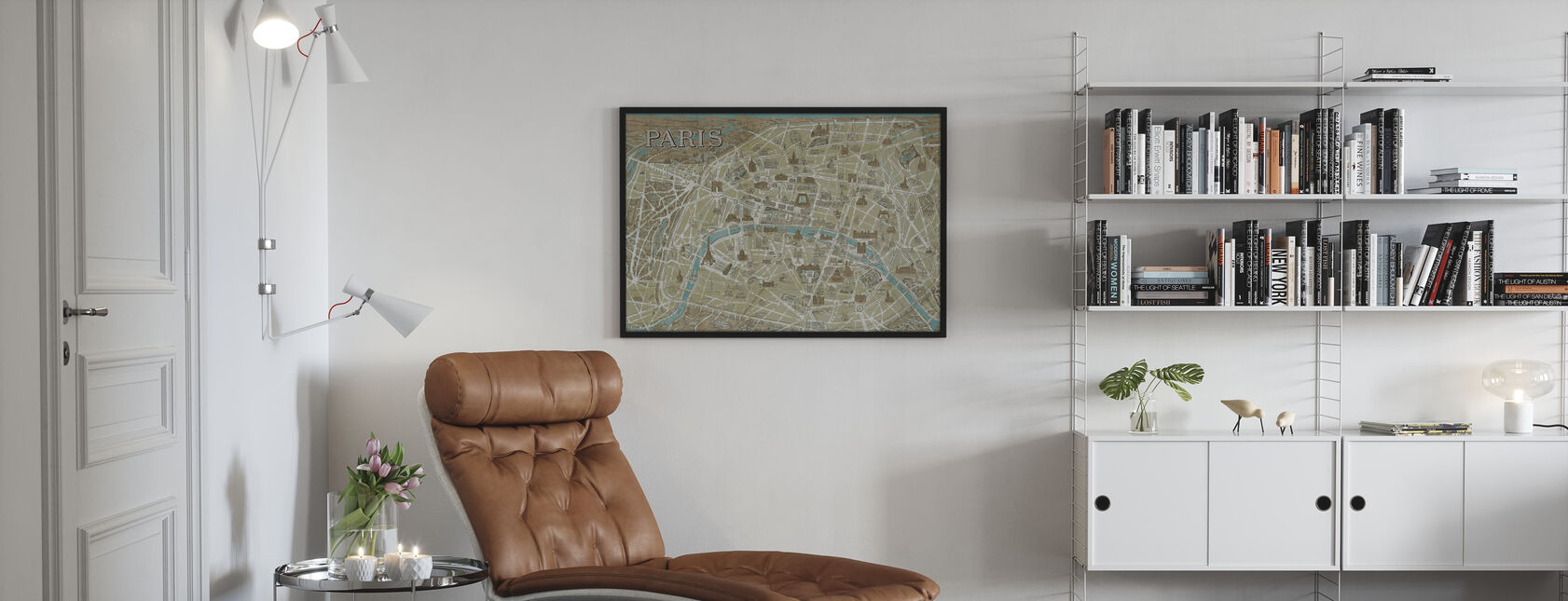 Monuments of Paris Map Blue - Framed print - Living Room