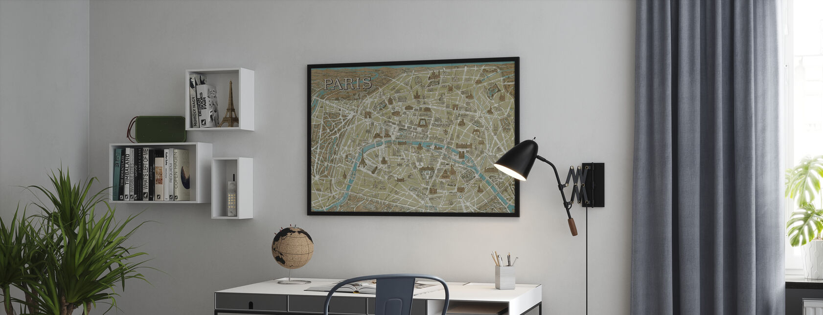 Monuments of Paris Map Blue - Poster - Office