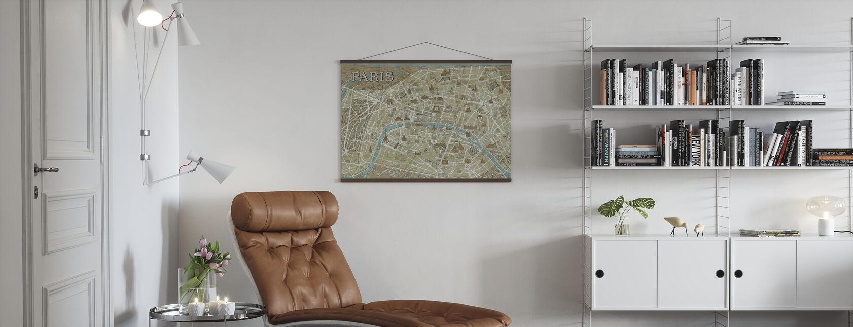 Pariisin monumentteja kartta Sininen - Juliste - Olohuone