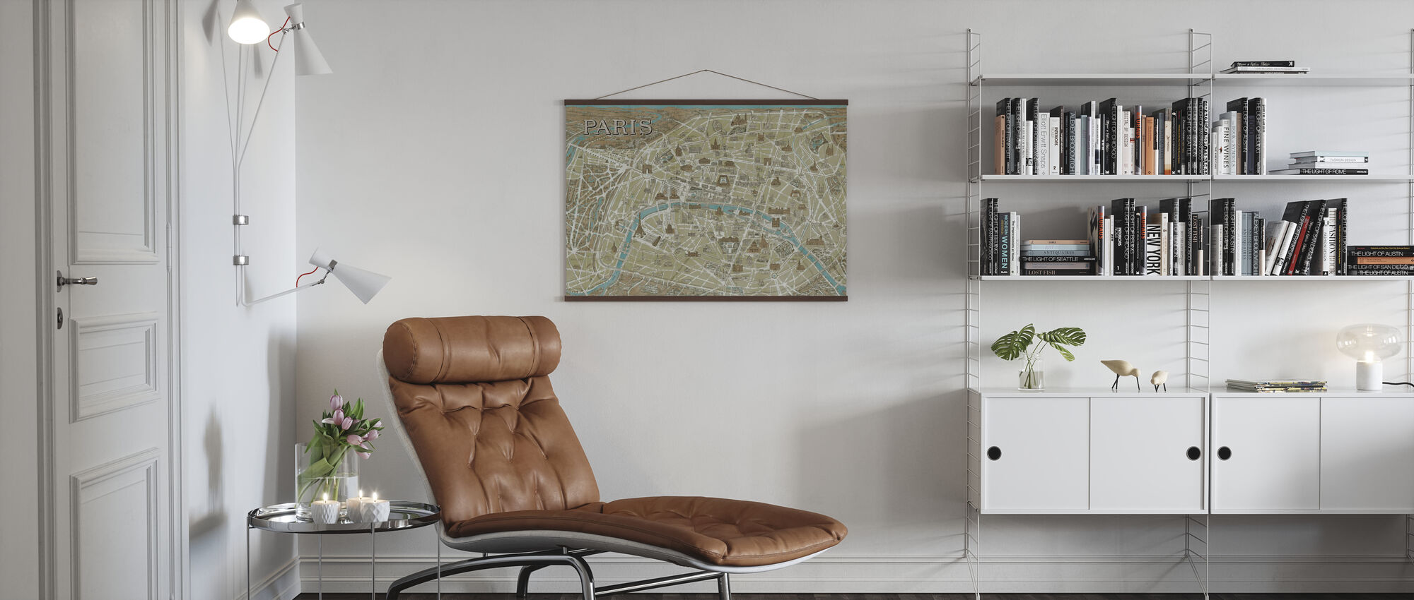Monuments of Paris Map Blue - Poster - Living Room