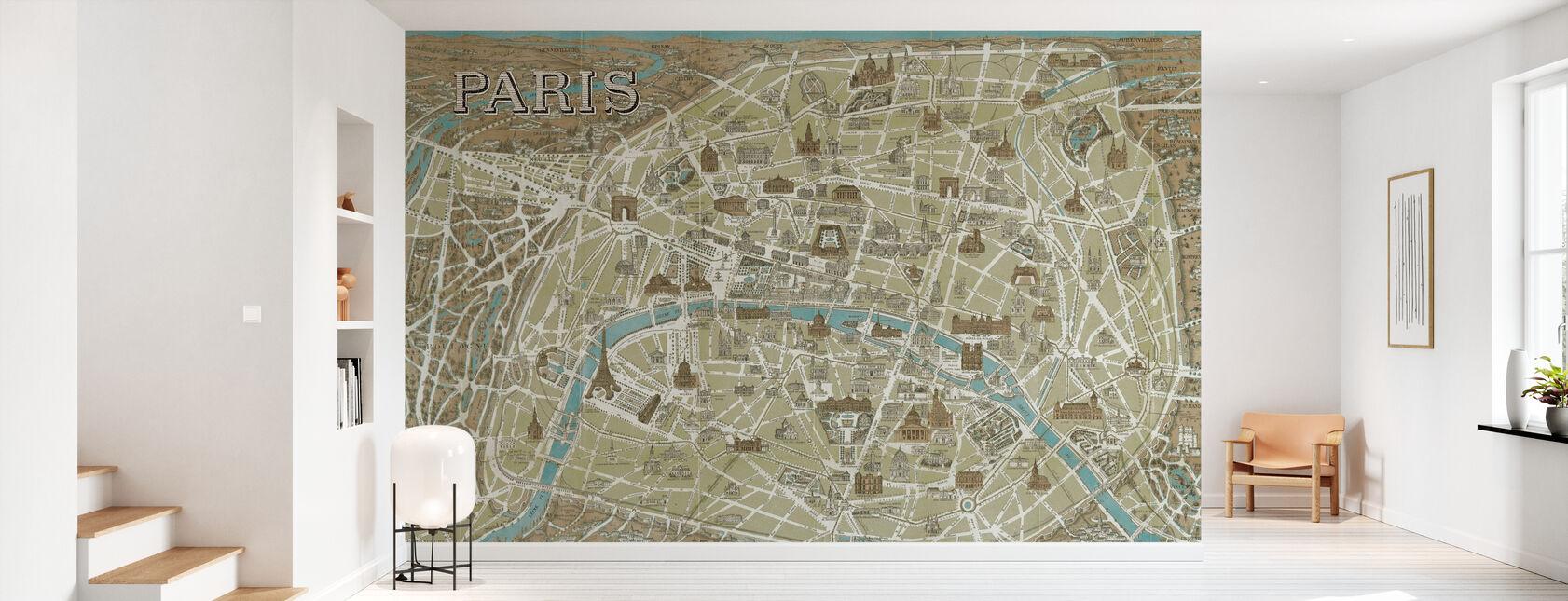 Monuments of Paris Map Blue - Wallpaper - Hallway
