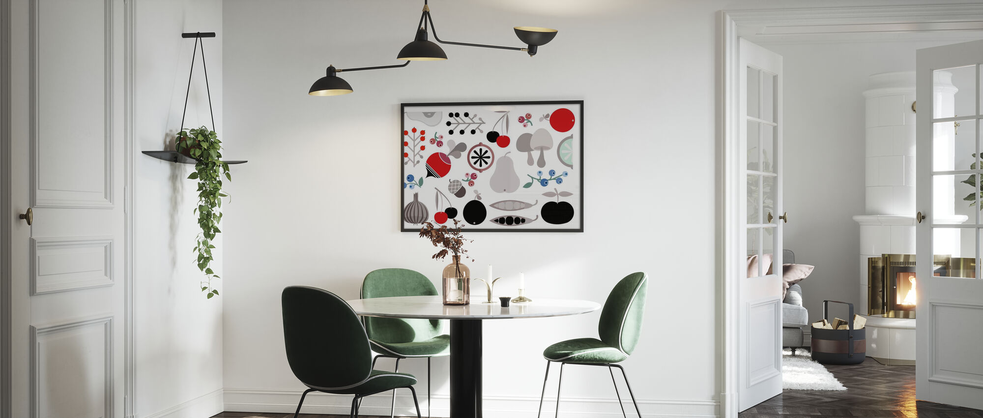Mushroom Berries Nuts and Fruits - Framed print - Kitchen