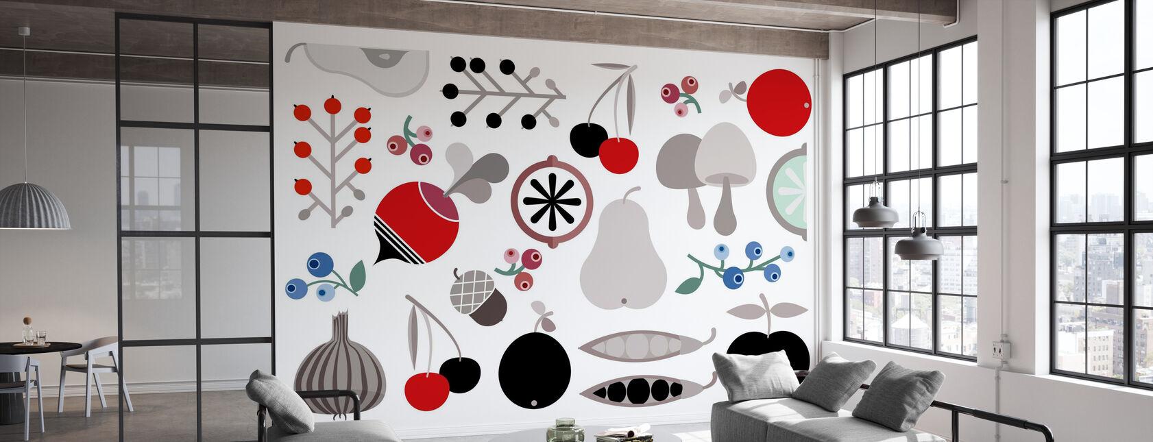 Fruits et fruits de baies de champignons - Papier peint - Bureau