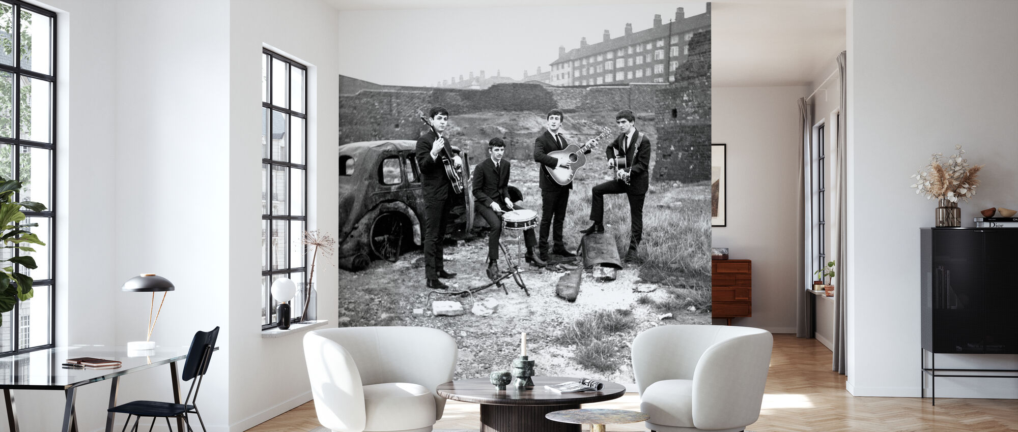 Les Beatles - Voiture abandonnée - Papier peint - Salle à manger