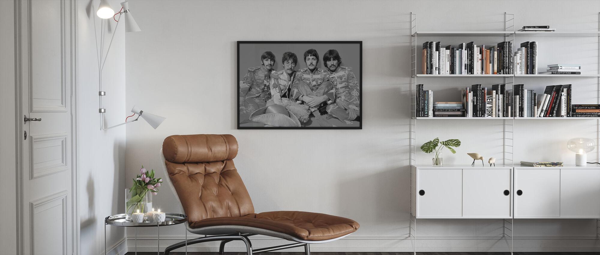 Beatles - Kersantti Pepperit Yksinäiset sydämet Club Band Harmaa - Kehystetty kuva - Olohuone