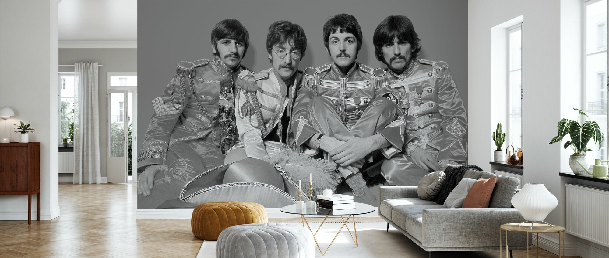 The Beatles - Sgt Peppers Lonely Hearts Club Band Grau - Tapete - Wohnzimmer