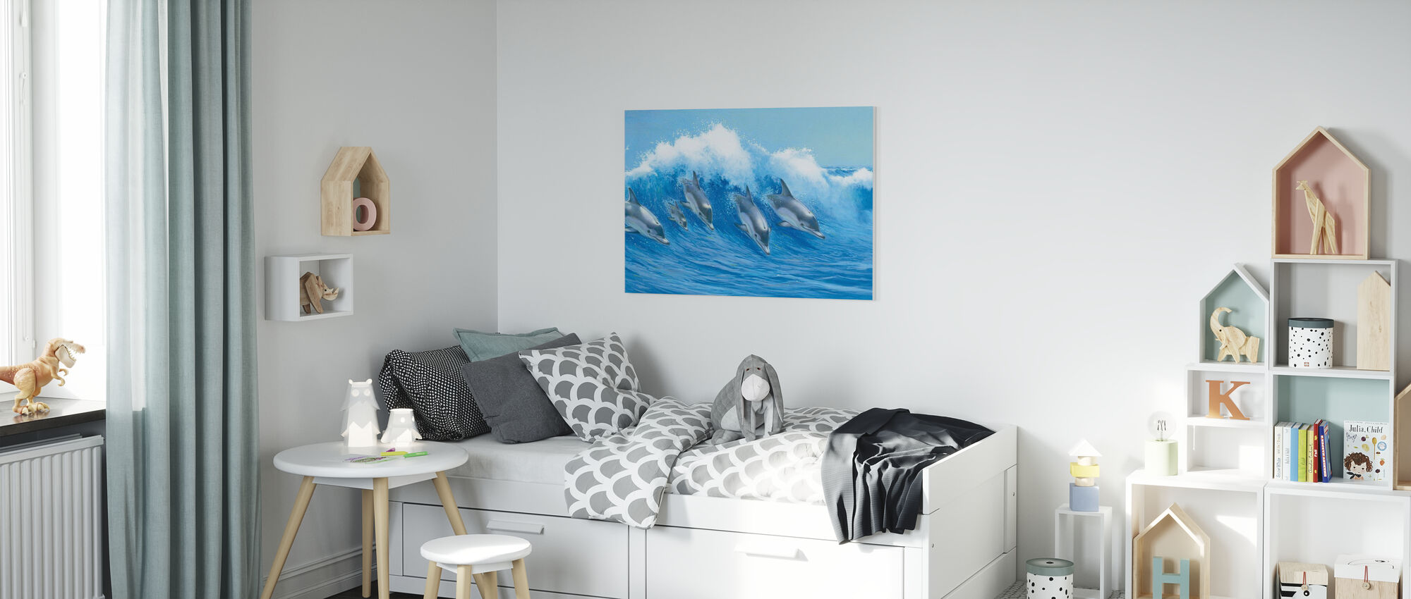 Delfini salti - Stampa su tela - Camera dei bambini