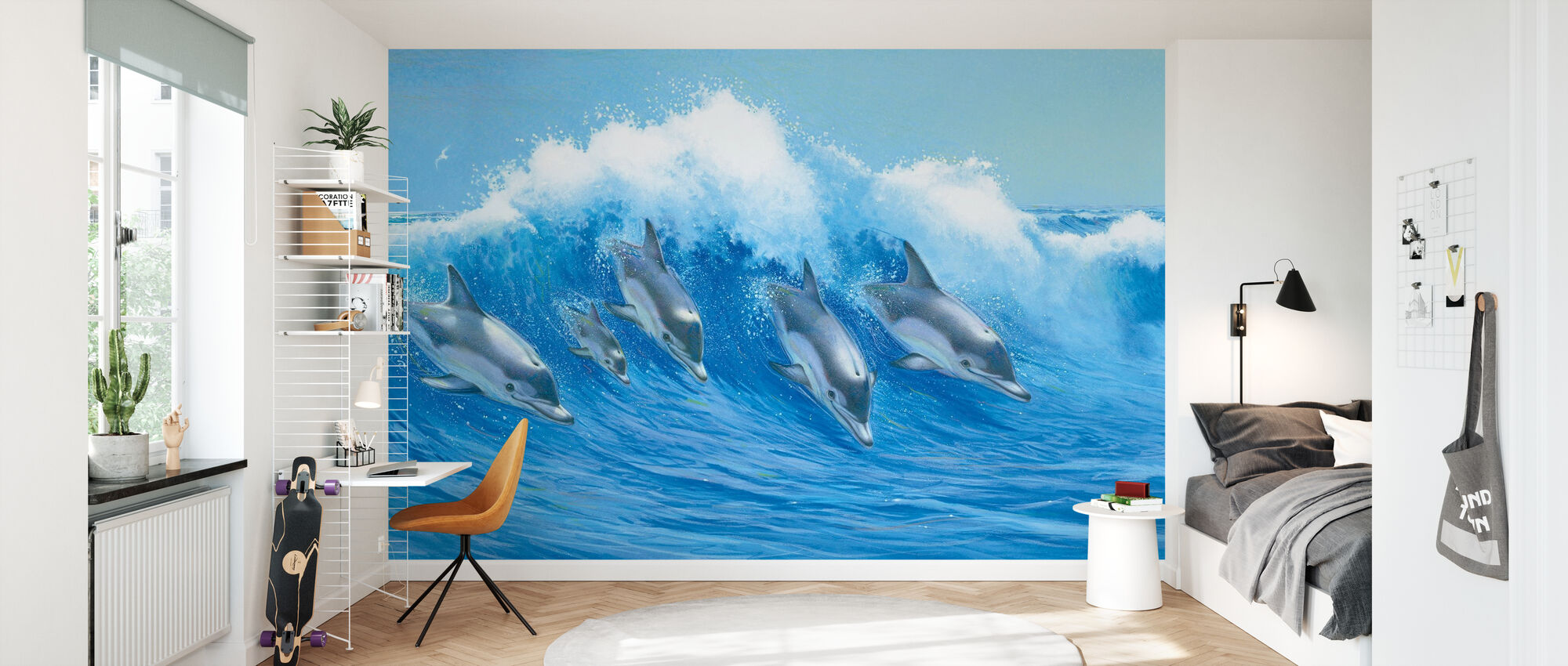 Dolfijnen springen - Behang - Kinderkamer