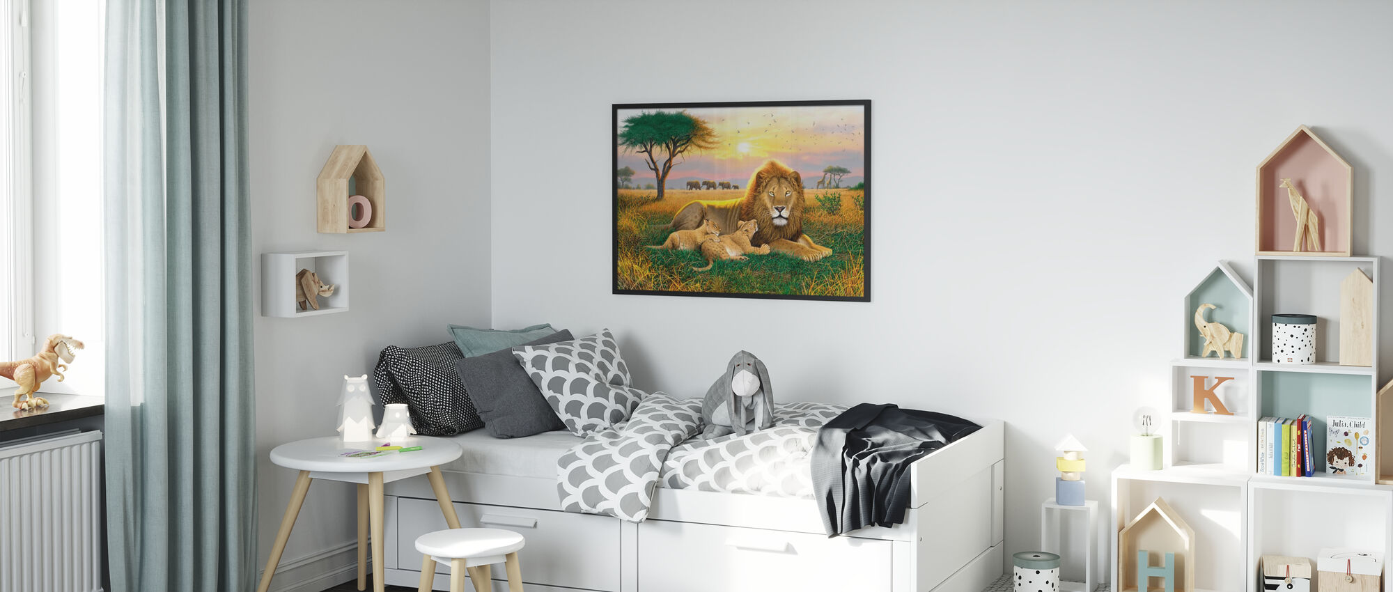 Konungar av Serengeti - Inramad tavla - Barnrum