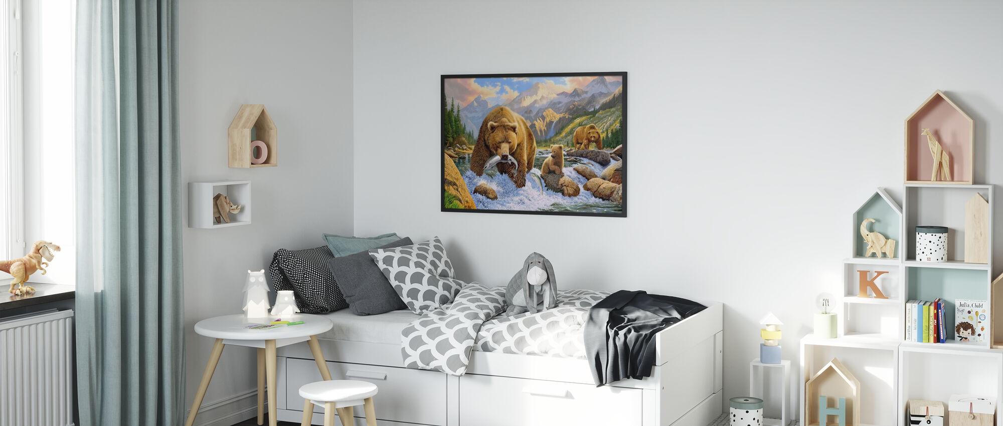 Bear Salmon Fishing - Poster - Kids Room