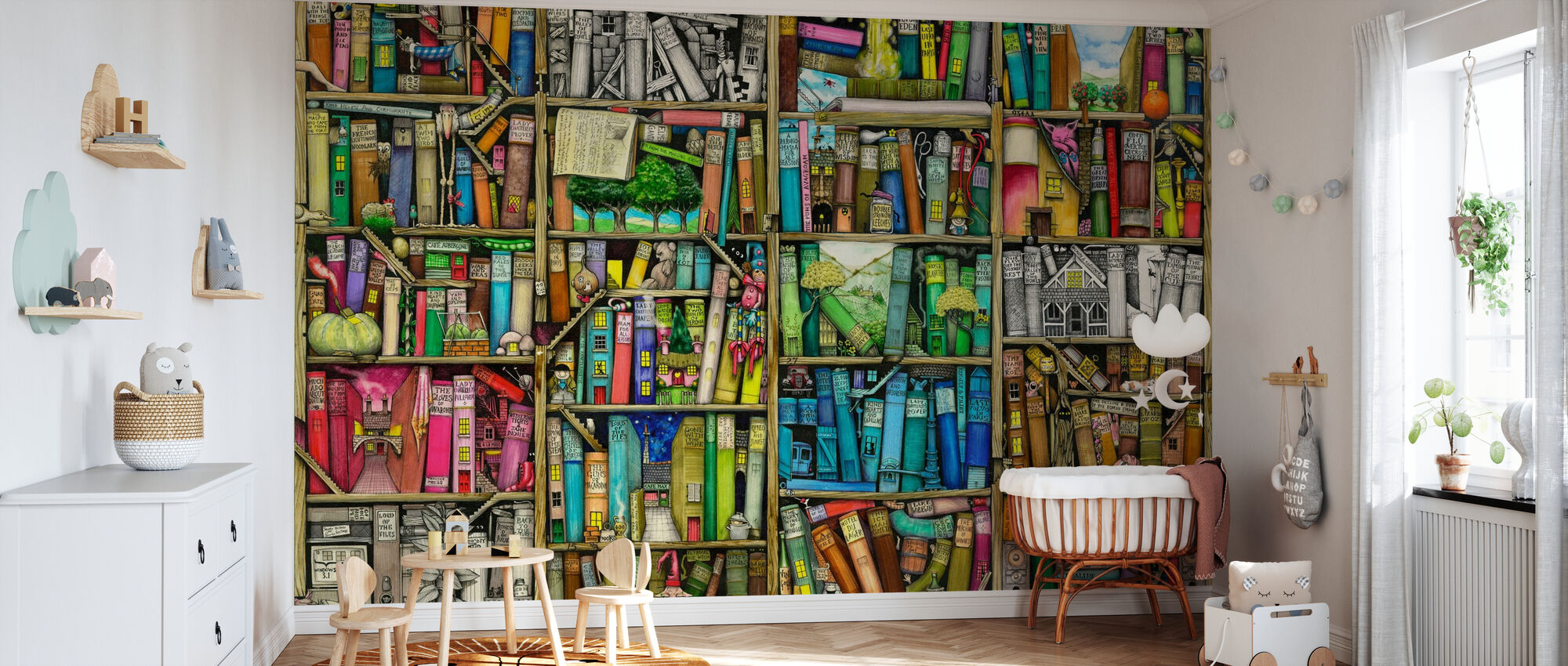 Fantasy Bookshelf - Wallpaper - Nursery