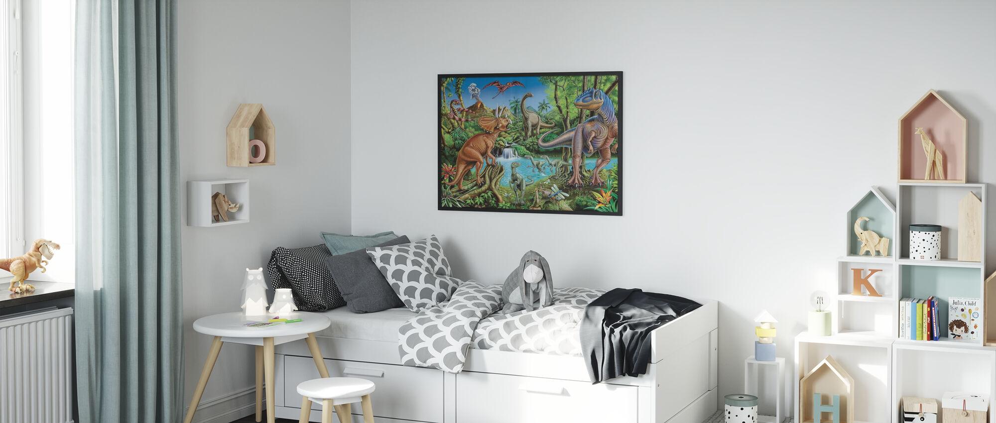 Dinosauruswaterval - Ingelijste print - Kinderkamer