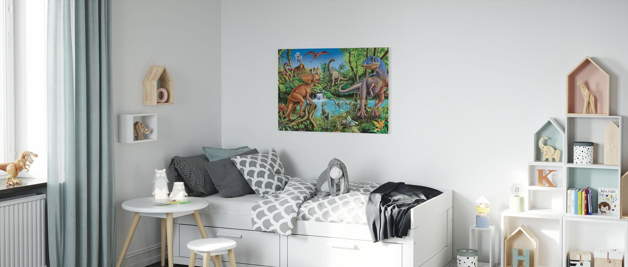 Dinosaur-fossen - Lerretsbilde - Barnerom