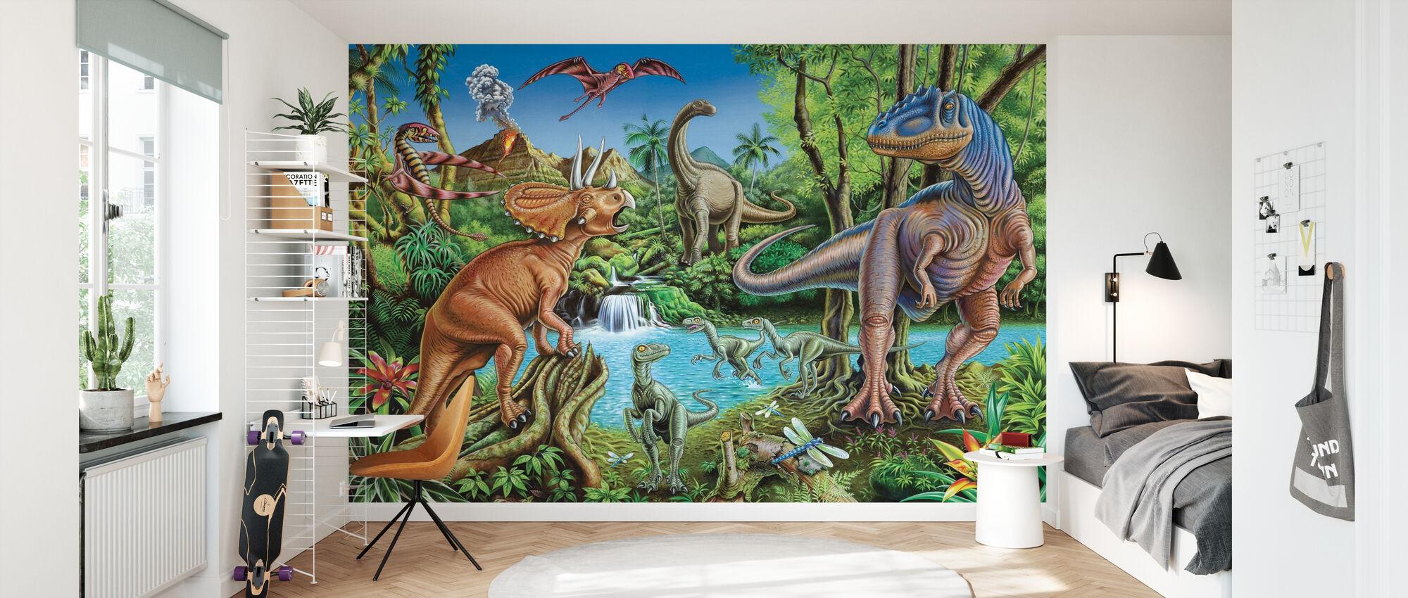 Dinosaur Waterfall - Wallpaper - Kids Room