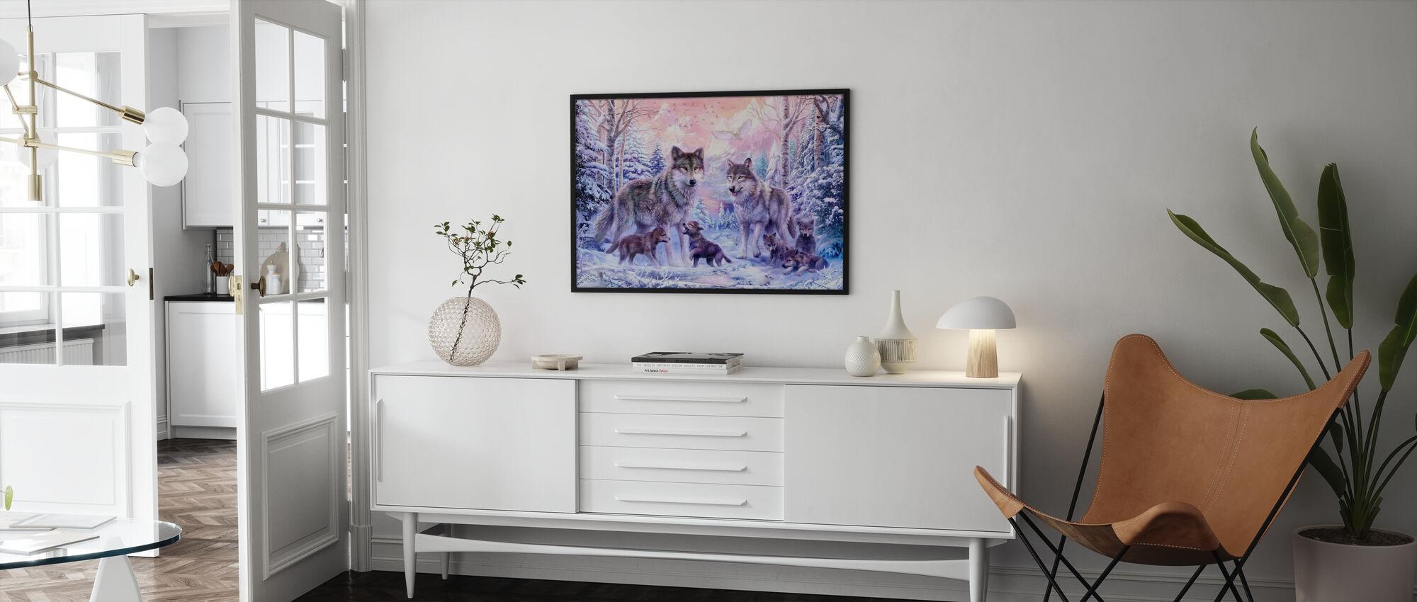 Winter Wolf Familie - Ingelijste print - Woonkamer