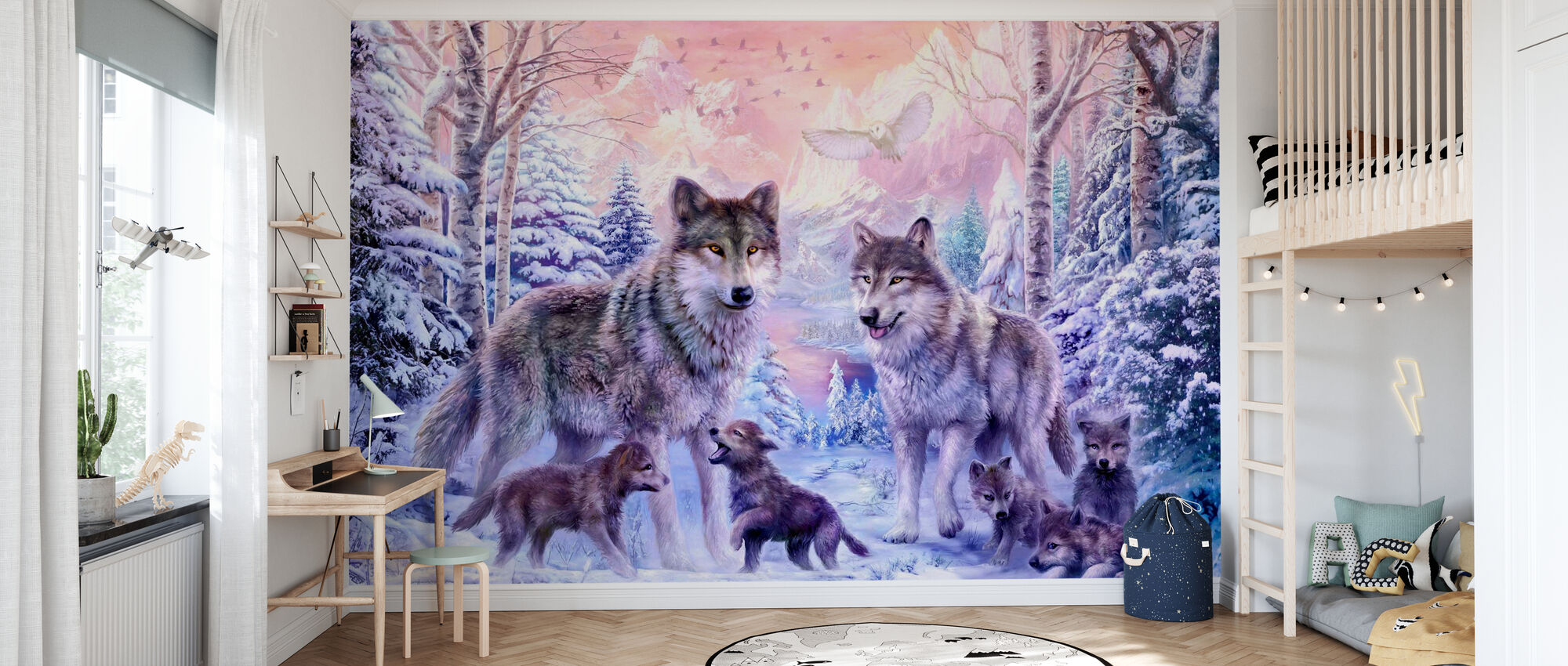 Winter Wolf Family - Wallpaper - Kids Room