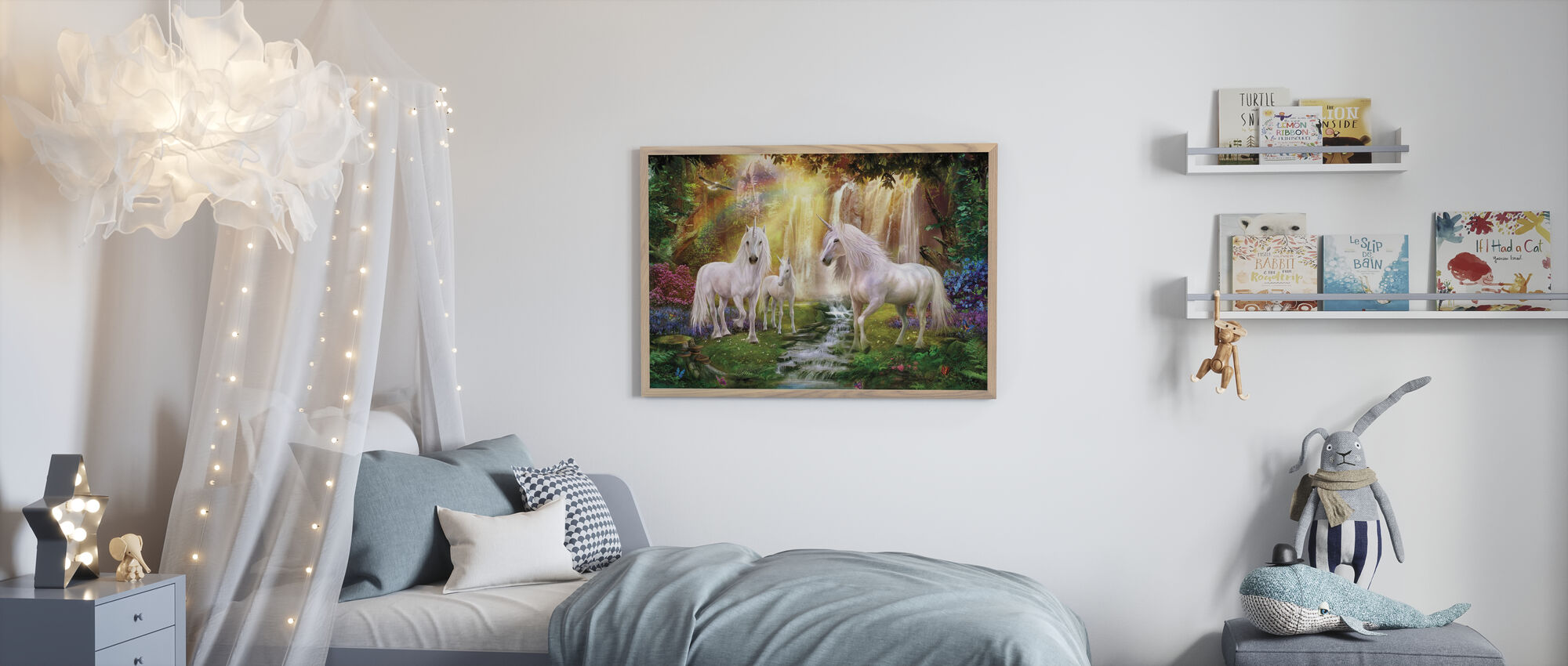 Waterfall Glade Unicorns - Framed print - Kids Room