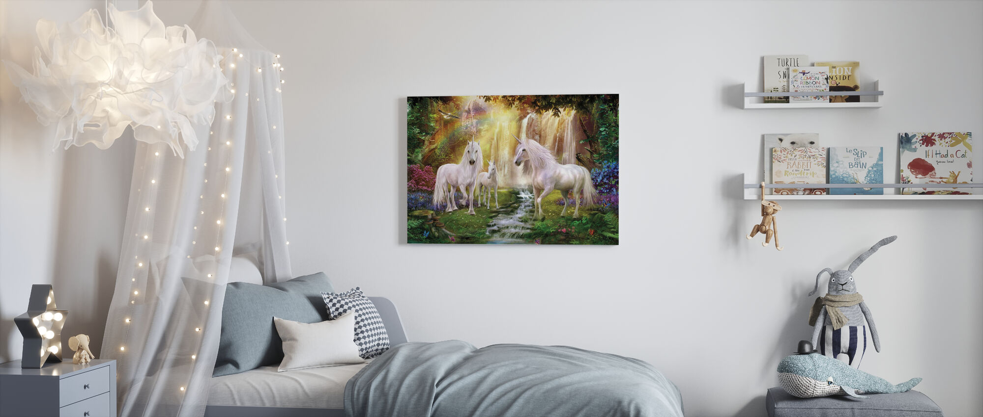 Waterfall Glade Unicorns - Canvas print - Kids Room