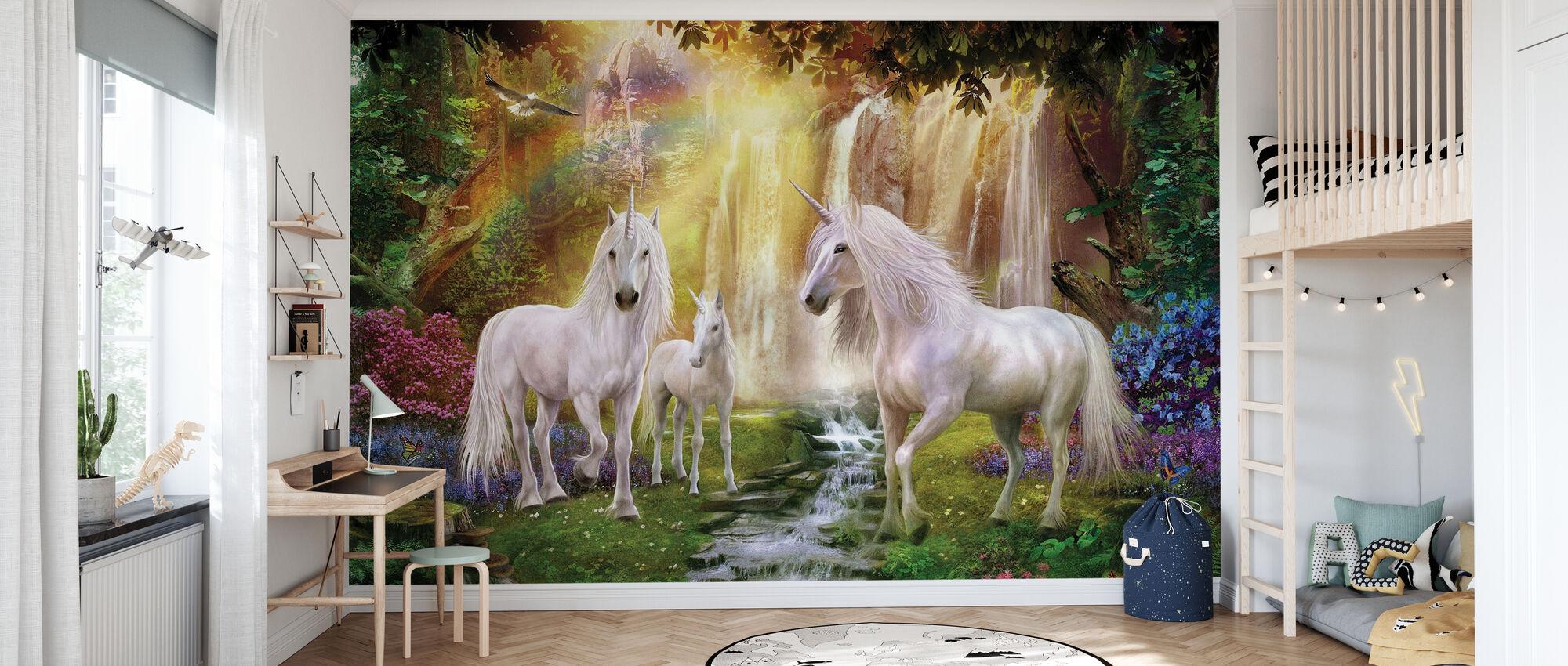Cascata Radura Unicorni - Carta da parati - Camera dei bambini