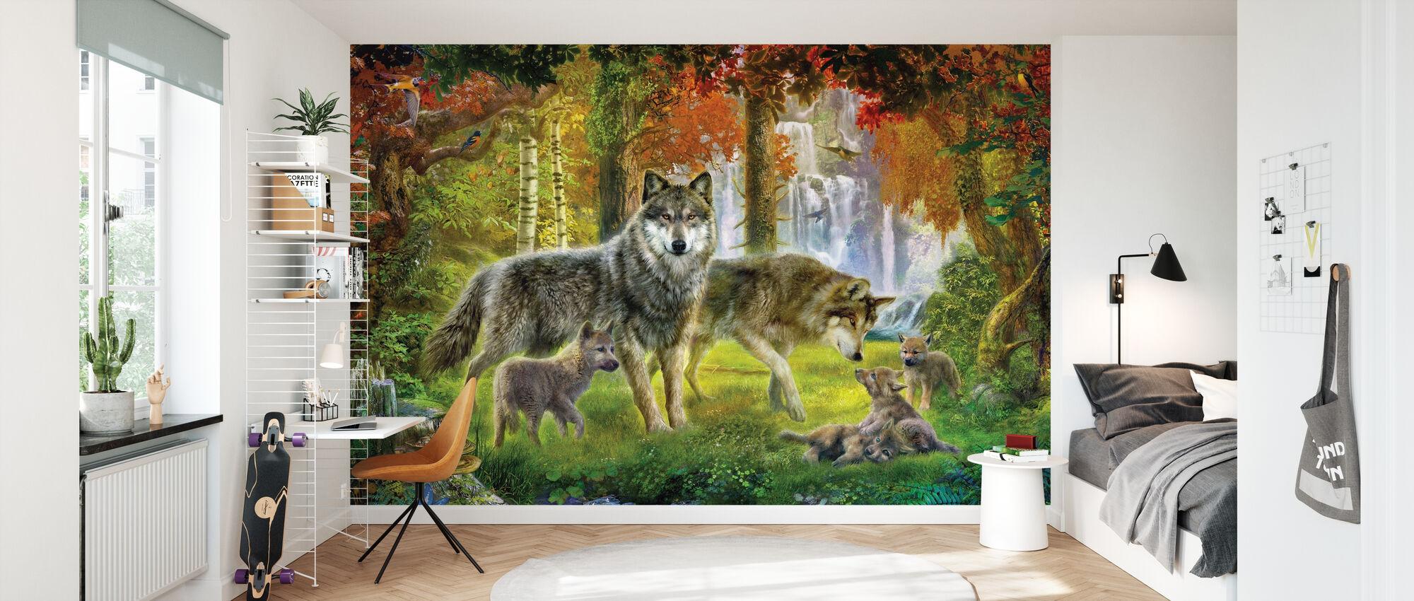 Summer Wolf Family - Wallpaper - Kids Room
