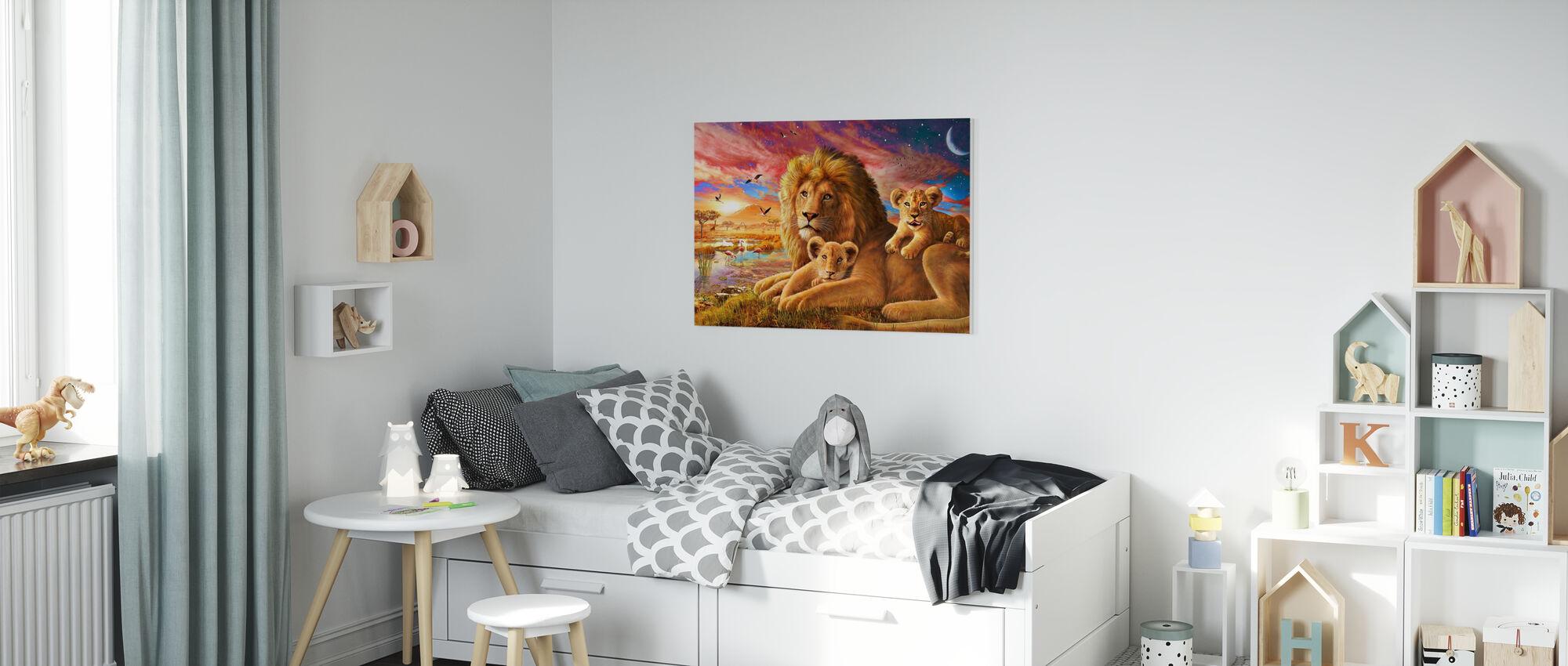 Lejonsoluppgång - Canvastavla - Barnrum
