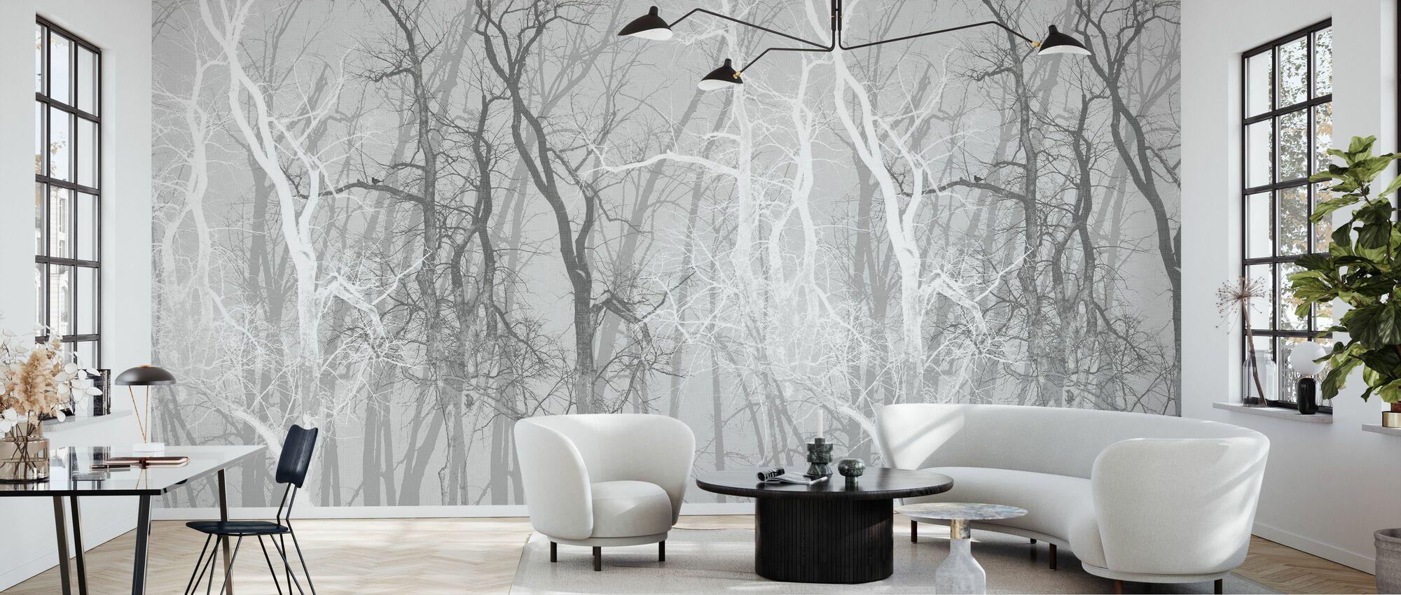 Wander Trees Charcoal - Wallpaper - Living Room