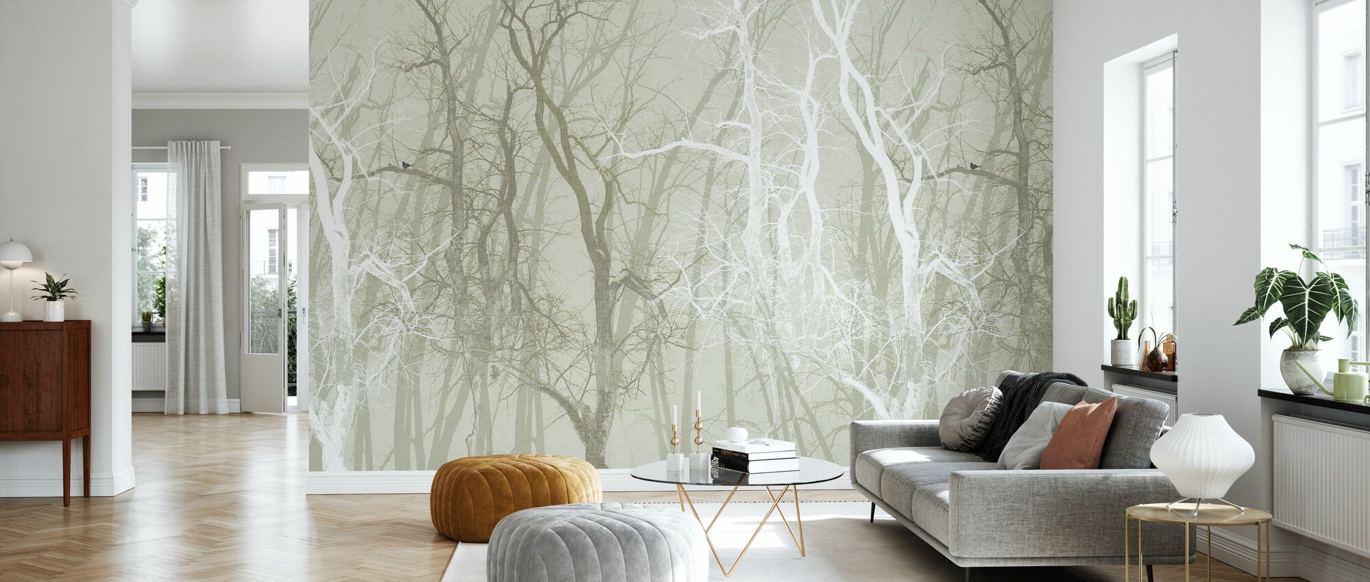 Wander Trees Sepia - Wallpaper - Living Room