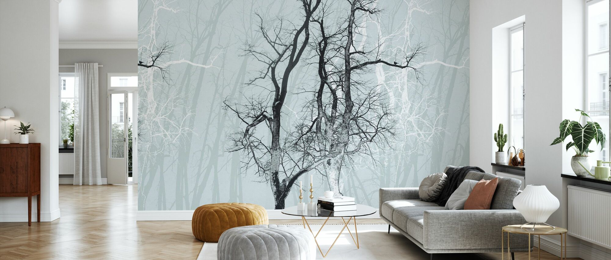 Dwalende Hout Frost - Behang - Woonkamer