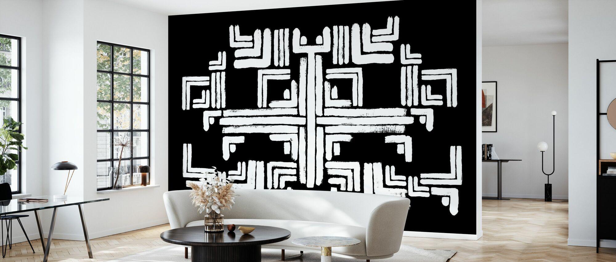 Tribe Black White - Wallpaper - Living Room