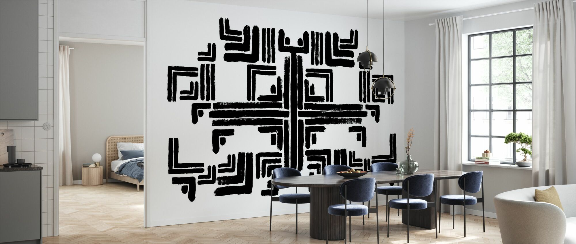Tribe White Black - Wallpaper - Kitchen