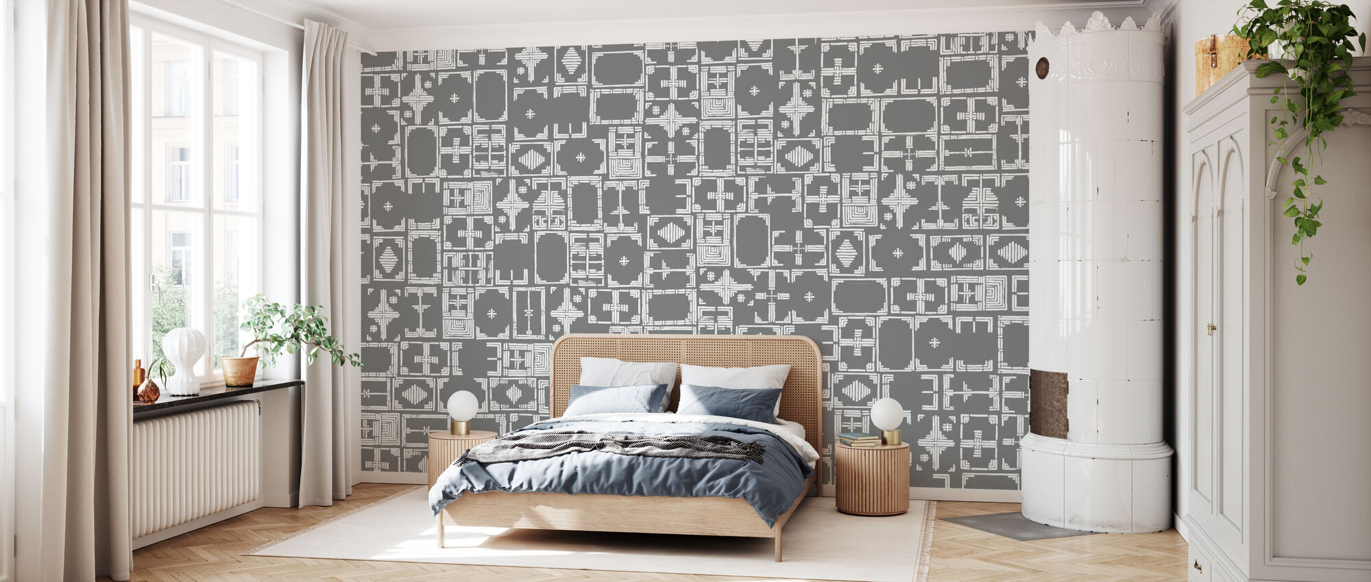 Stained Grey White - Wallpaper - Bedroom