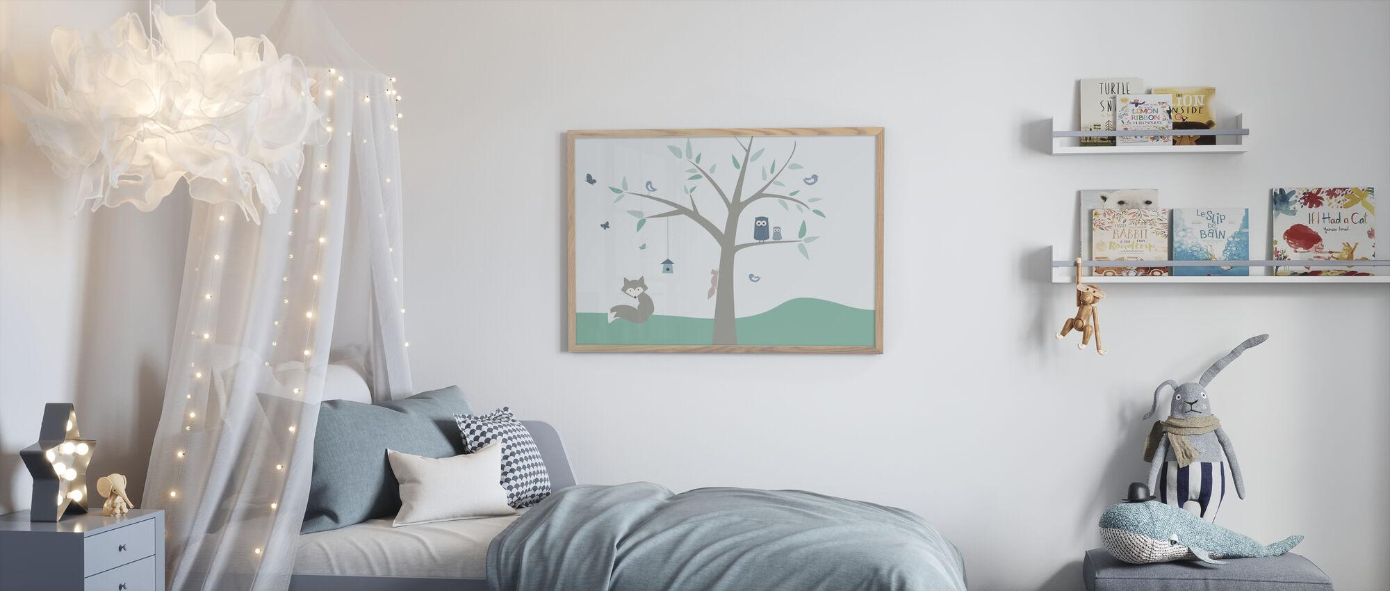 Dyr Tree - grønn - Innrammet bilde - Barnerom