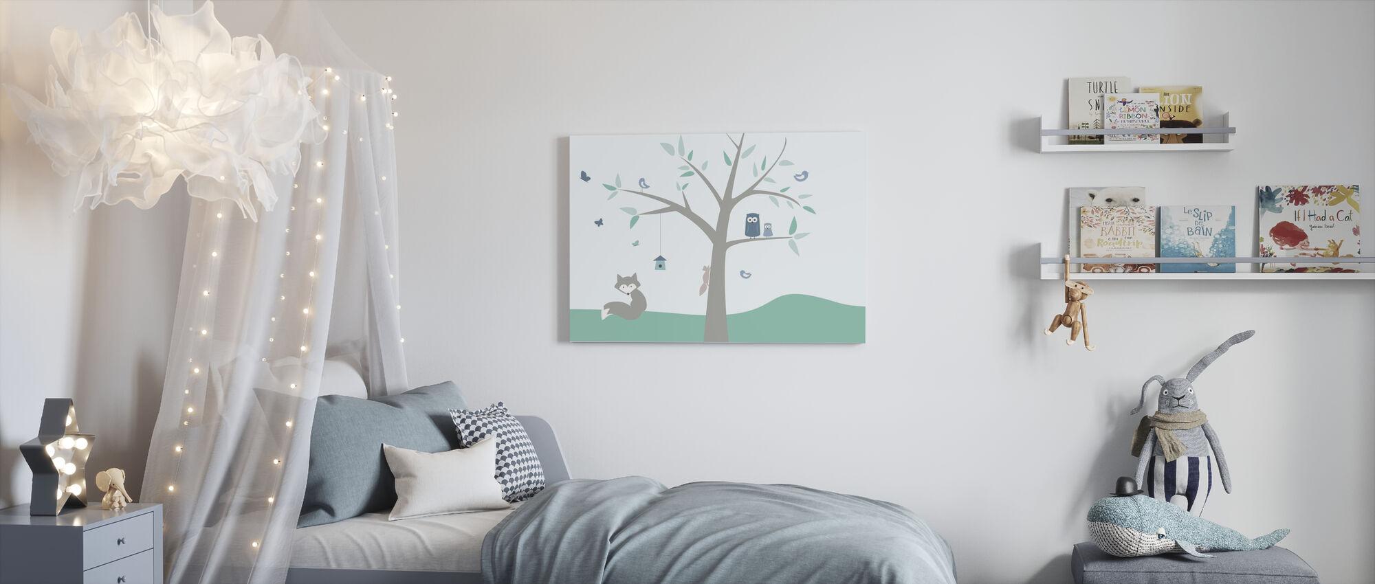 Dierenboom - groen - Canvas print - Kinderkamer