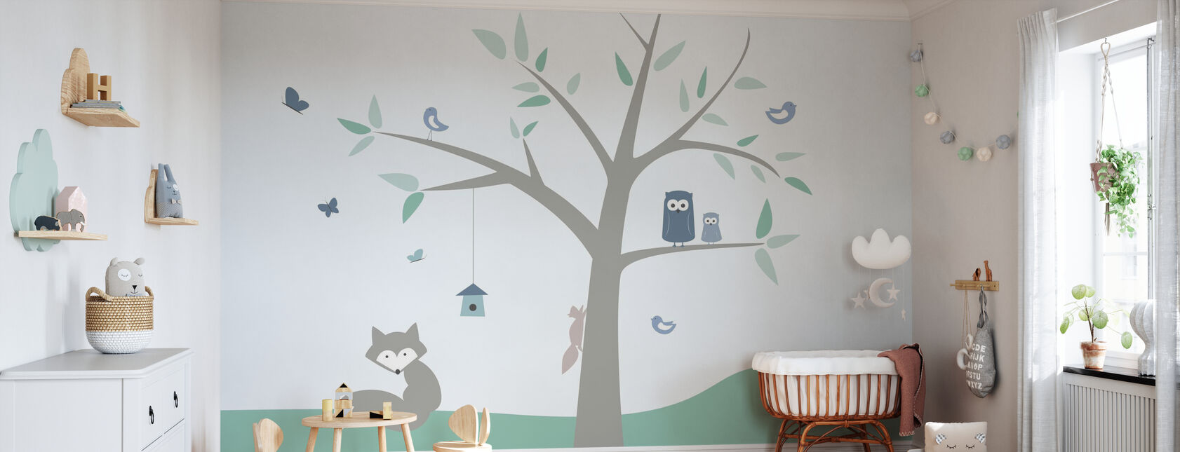 Arbre Animal - vert - Papier peint - Chambre de bébé