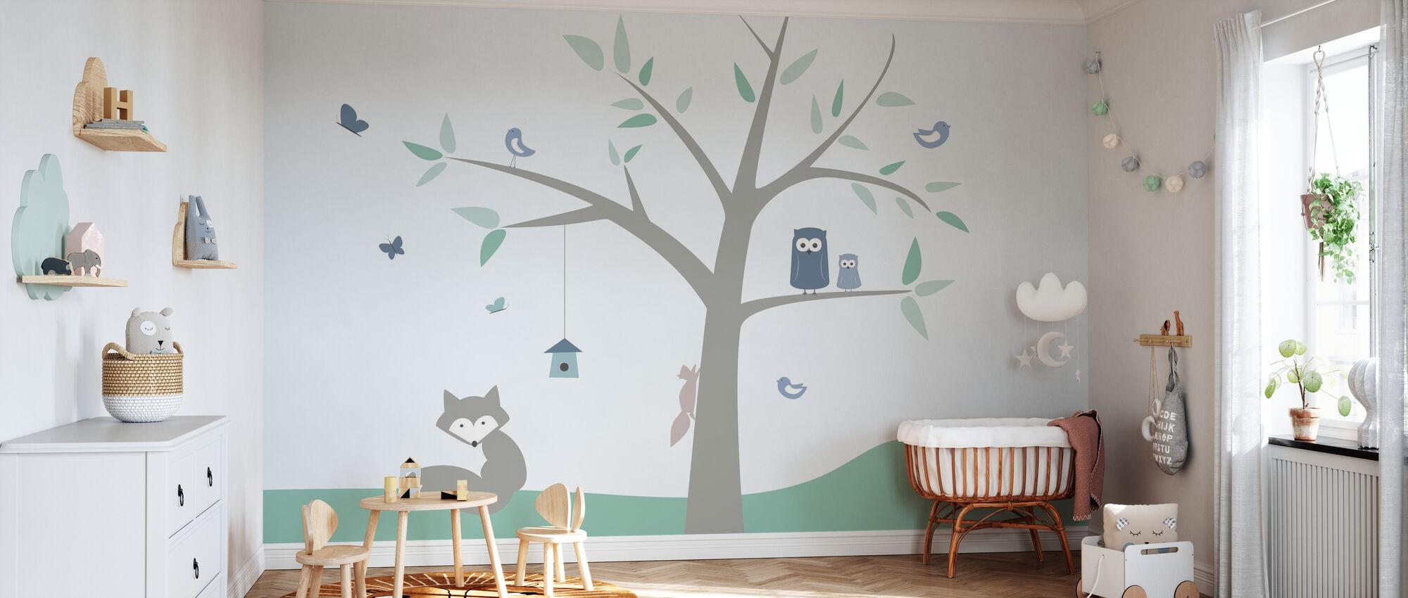 Animal Tree - green - Wallpaper - Nursery