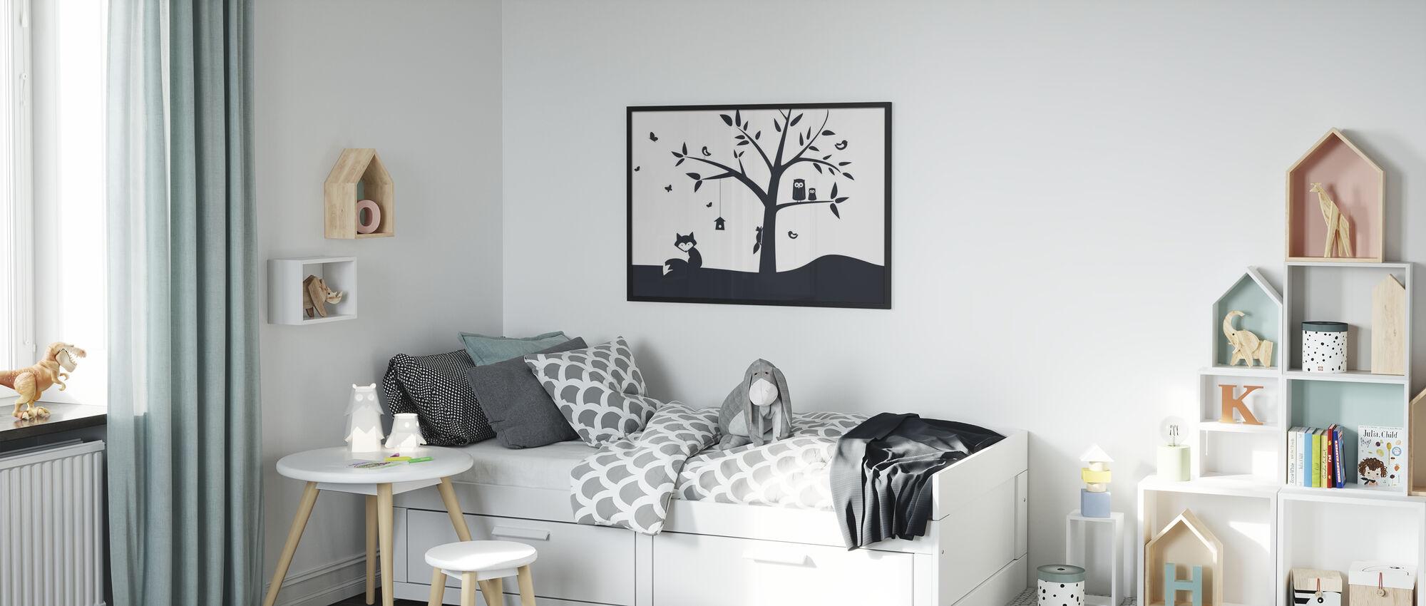 Dierenboom- Zwart - Ingelijste print - Kinderkamer