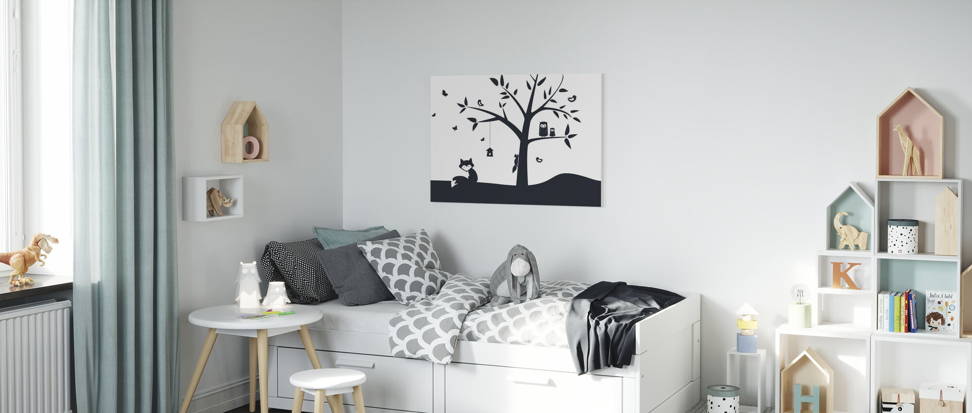 Animal Tree- Black - Canvas print - Kids Room