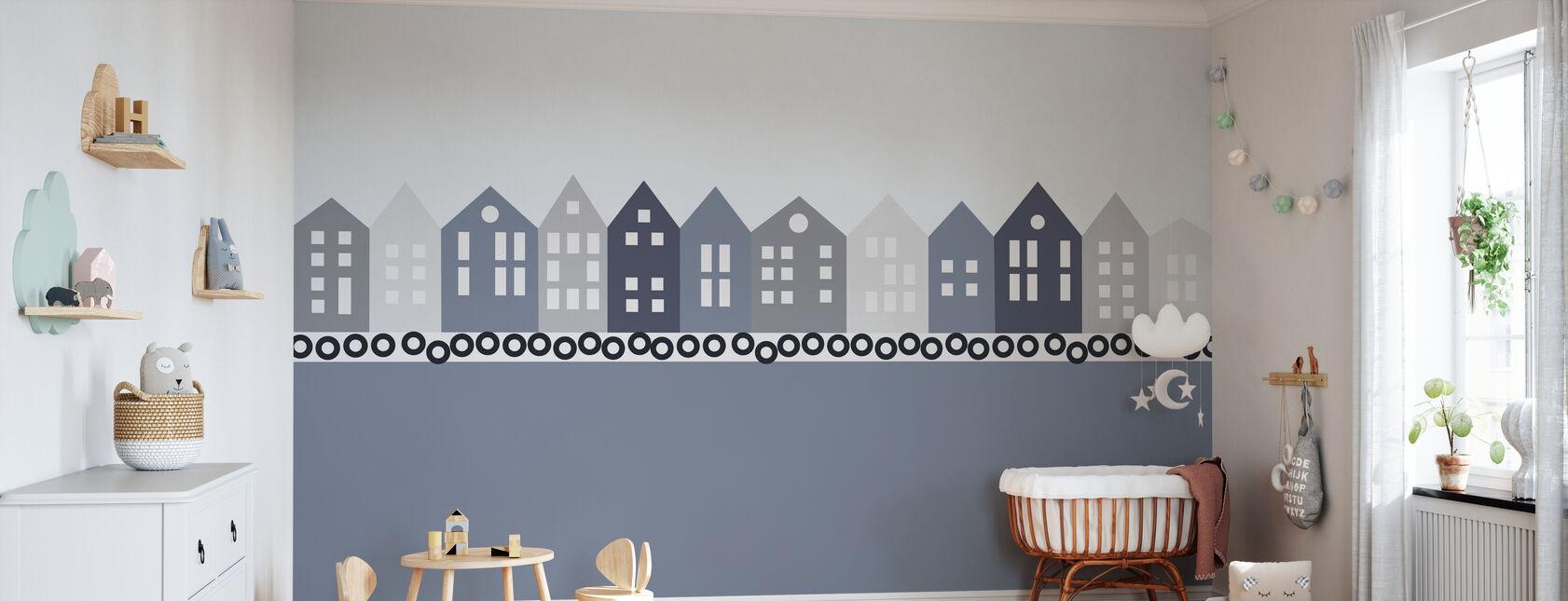 Bryggen - Blue - Wallpaper - Nursery