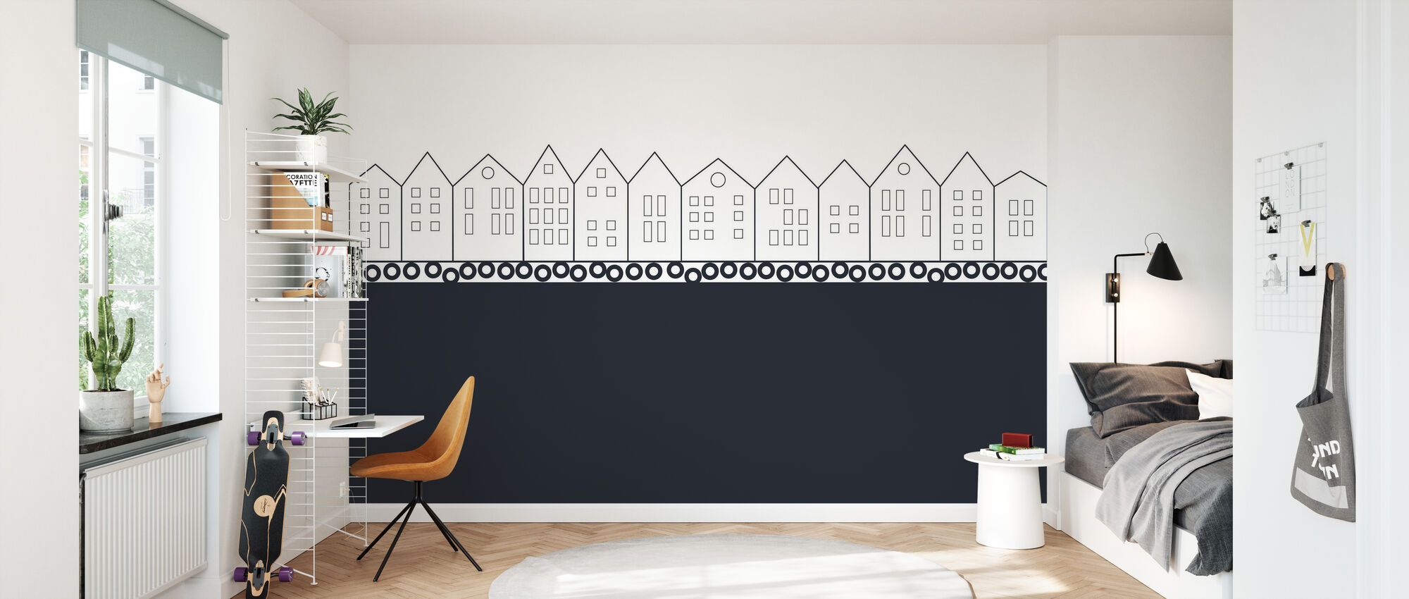 Bryggen Black - Wallpaper - Kids Room